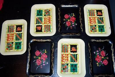 7pcs Vintage Tin Metal Black Roses & Coat of Arms Tip / Snack Trays or Coasters