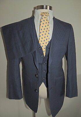 Vtg Hughes & Hatcher Blue Pin Stripe Wool Blend 3 Piece Suit W/vest Size 38R