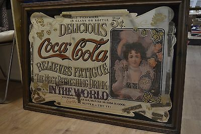 Large Vintage Coca Cola Mirror Sign collectable 69 x 100cm