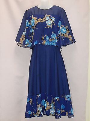 1970's Vintage Cocktail Dress with Contrasting Floral Chiffon Butterfly Sleeves.
