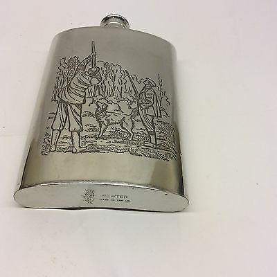 Vintage Pewter Hip Flask Made In England