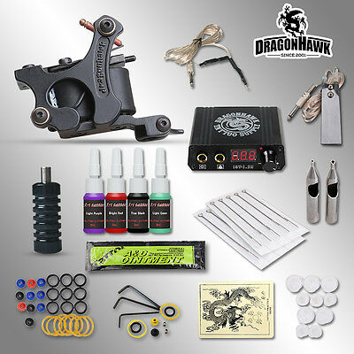Complete Tattoo kits 8 wrap coils guns machine 1/6oz black ink disposable needle