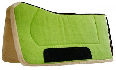 """Showman 32"""" x 32"""" LIME Contoured Pad with Kodel Fleece and Suede Wear Leathers!"""