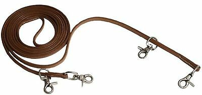 "Showman 3/8"" x 11' Harness Leather Draw Reins With 4 scissor snaps! HORSE TACK!"