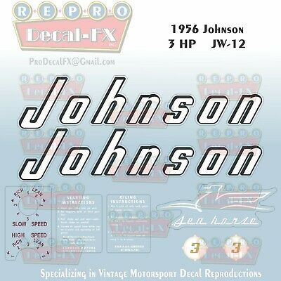 1956 Johnson 3 HP  JW-12 Sea Horse Outboard Reproduction 8 Piece Vinyl Decals