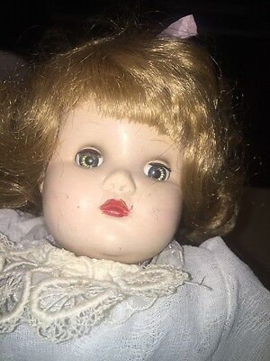 Antique Vintage  Doll German Look Lace Dress Eyes Open Cries