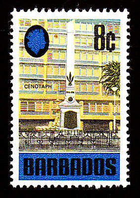Barbados # 334: Eight Cents,  Deep Blue & Multicolored, Cenotaph. Mint, VF, NH.