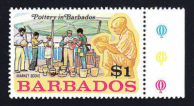 Barbados # 383: One Dollar, Yellow & Multi, Pottery Wheels. Mint, VF, NH.