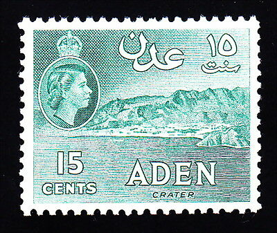 Aden # 50: 15 Cents, Blue Green, Crater . Mint, VF, NH. Great Watermarks!