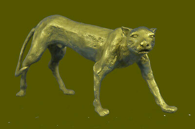 Collectible Statue bronze sculpture Animal LARGE SLEEK COUGAR LUCKY Decor EG