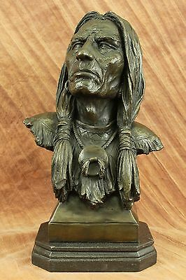 Rare Indian Native American Chief Eagle Bust Bronze Marble Statue Sculpture EG