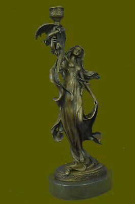 Nouveau Mythical Beautiful Goddess Candle Holder French Artist Jean Patoue Sale