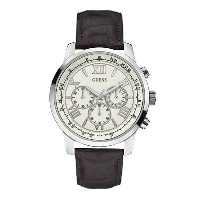 New Guess W0380G2 Men's Horizon Brown Leather White Dial Chronograph Watch