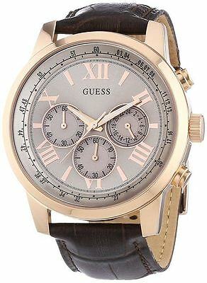 New Guess W0380G4 Men's Horizon Brown Leather  Chronograph Watch