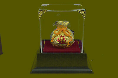 The Sculpture of money bag Chinese style 24K Gold 100% Real Bronze Sculpture EG