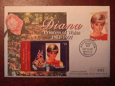Guyana 1997 Diana $300 Stamp & $10 Phonecard Mercury Ltd Edt First Day Cover