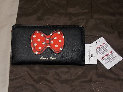 Disney Theme Parks Minnie Mouse Red White Bow Coin Change Wallet Purse New