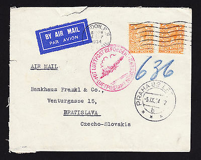 1934 KGV GB stamps on Luftpost Befordert cachet Airmail cover to Czechoslovakia