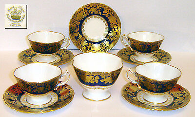 VINTAGE 1930's HAMMERSLEY COBALT BLUE AND GOLD TEA SET/SERVICE PERFECT CONDITION