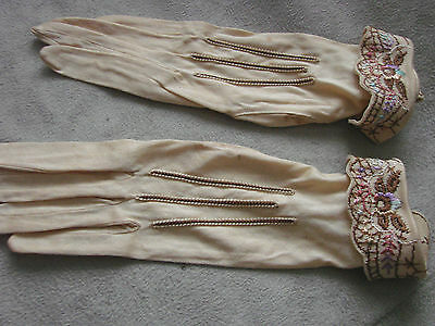 Vintage Edwardian Gloves NOS Embroidered Cuffs SNAPS Cotton xs Ivory
