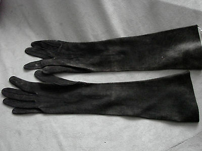 Vintage Gloves Edwardian 20s Ultra Soft Leather Kid Black gray Buttons  Long