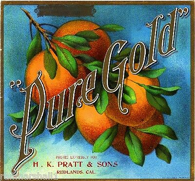 "Redlands San Bernardino ""Pure Gold"" Orange Citrus Fruit Crate Label Art Print"