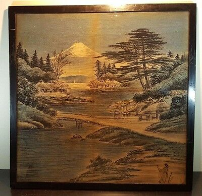 Large Oriental Chinese Japanese Framed Glazed Painting On Burlap Hessian 2