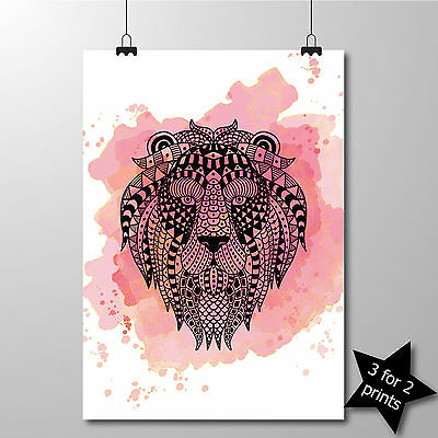 LION Mandala Sketch and Watercolour Style Wall Art Print Poster in 3 sizes