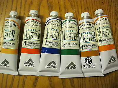 SET OF 6 PCS FERRARIO OIL MASTER OIL COLOURS  60ML (MADE IN ITALY) Lot #2