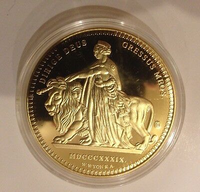 1839 Una And The Lion Reproduction £5 Coin - Queen Victoria, Cu Gold Plated