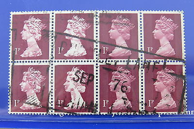 8-Block stamps Machin Briefmarken UK missing color head portrait used! 1976