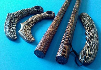 Arnis Escrima SET 2 Bahi Palm tree ironwood stick Philippine 1 Knife 2 Karambit