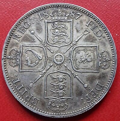 1887 Florin/two Shillings. Victoria Jubilee Head British Silver Coins.