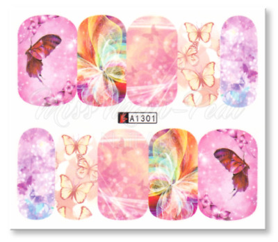 Nail Art Decals Transfers Stickers Pink Butterfly World (A-1301)