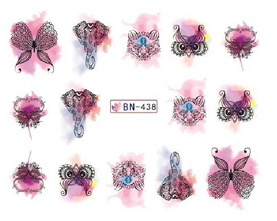 Nail Art Decals Transfers Stickers Lace Butterflies (BN438)