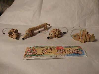 Kinder Surprise 2000 Segmented Wooden Animals X 4 With Paper Nice See Pictures