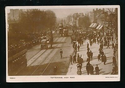 London TOTTENHAM High Rd Trams busy scene Used 1908 RP PPC by Rapid