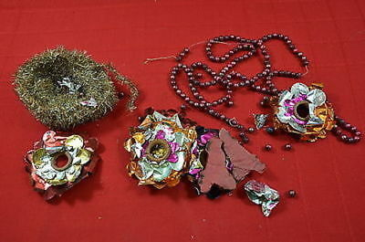 Antique Victorian Christmas Garland Tinsel Ornaments 900