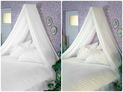 Adult BED CANOPY inc VOILE & Wall Rod Kit WHITE CREAM fits Single Double King