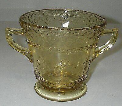 Federal Glass PATRICIAN/Spoke Amber Open Sugar footed Depression 1933-37