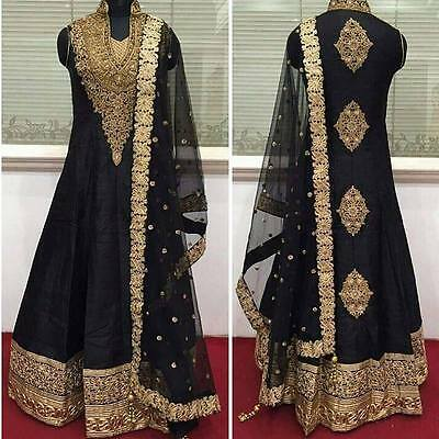 Asian/Indian/Pakistani Designer Anarkali Wedding Salwar Kameez Black
