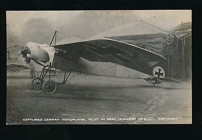 Military Aviation WW1 Captured GERMAN MONOPLANE Fokker No8 RP PPC
