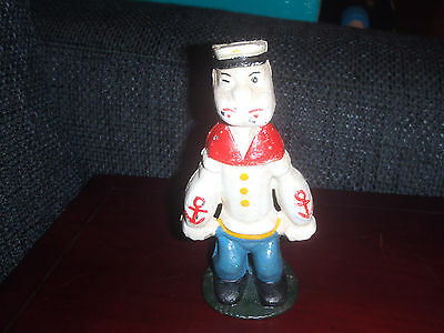 Extremely Rare! Old Popeye Standing Heavy Metal Piggy Bank Small Figurine Statue