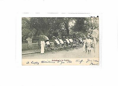 Rickshaws in CEYLON Postcard Undivided Back Posted in Colombo 1904