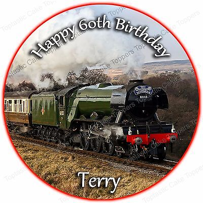 Personalised Flying Scotsman Steam Engine Train Edible Icing Party Cake Topper