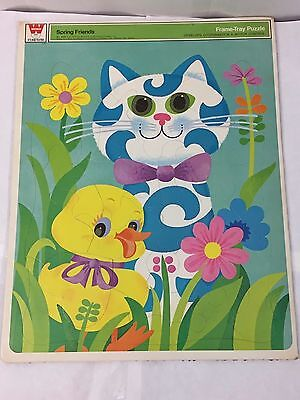 Vintage Whitman Spring Friends Retro 1970 Tray Puzzle Toy Cat Duck Frame 4531