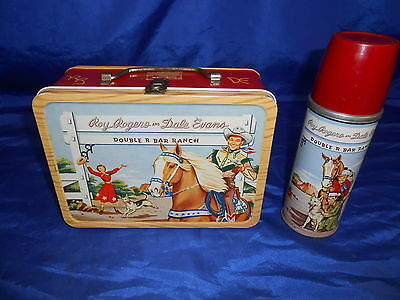 Roy Rogers Dale Evans Double R Bar Ranch Lunchbox & Thermos 1950s Red Side EXC++