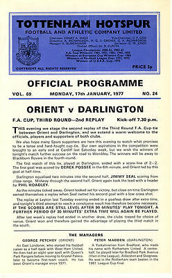 At Tottenham Hotspur: Orient v. Darlington 17/1/1977 FA Cup 3rd Round 2nd Replay