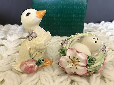 Fitz and Floyd Garden Rhapsody Salt Pepper Shakers New In Box Easter Duck Eggs