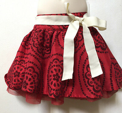 The Children's Place Girl Dressy Glittered Red Skirt Skort Tulle Layer Size 3T